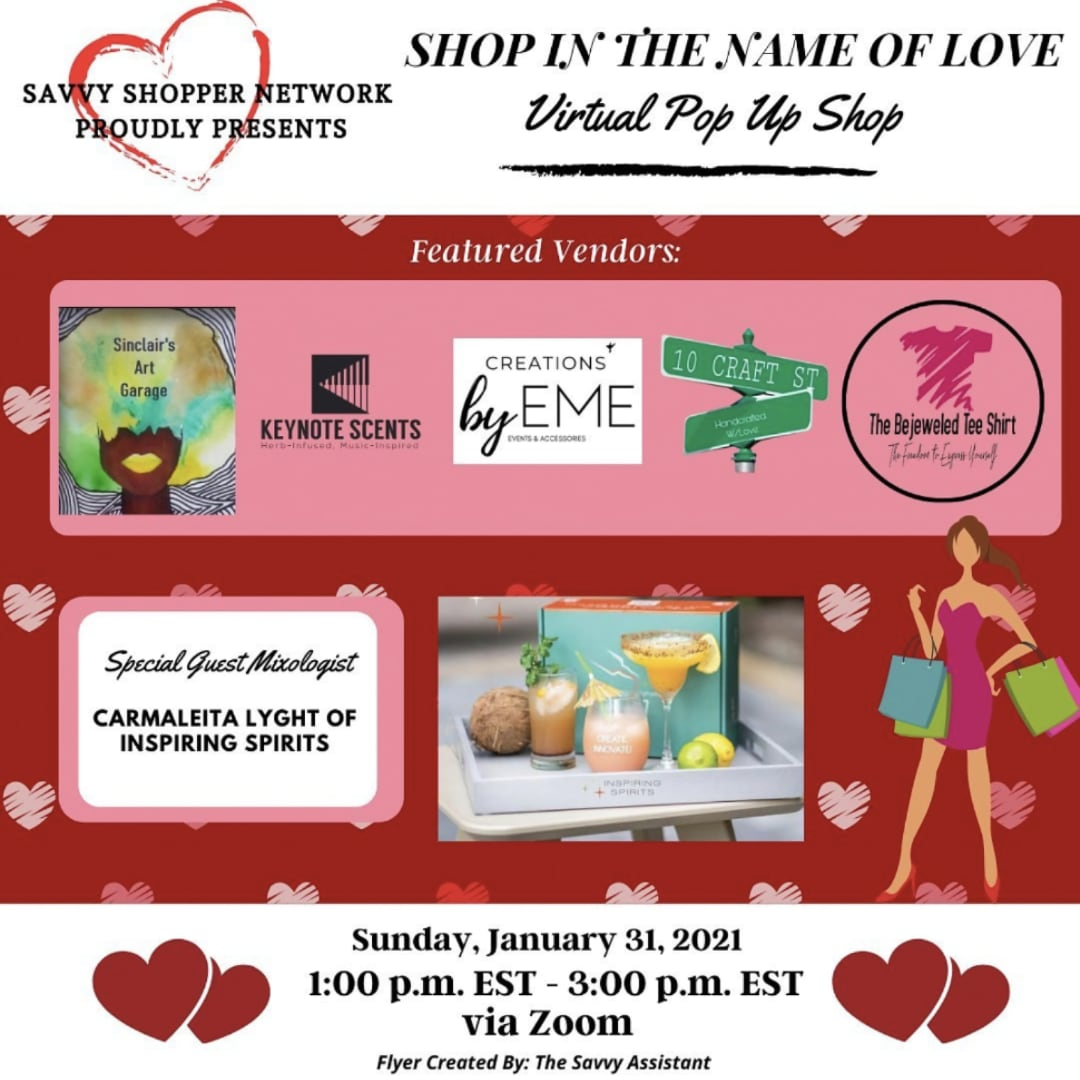 Inspiring Spirits - PopUp Shop - Shop in the Name of Love Flyer
